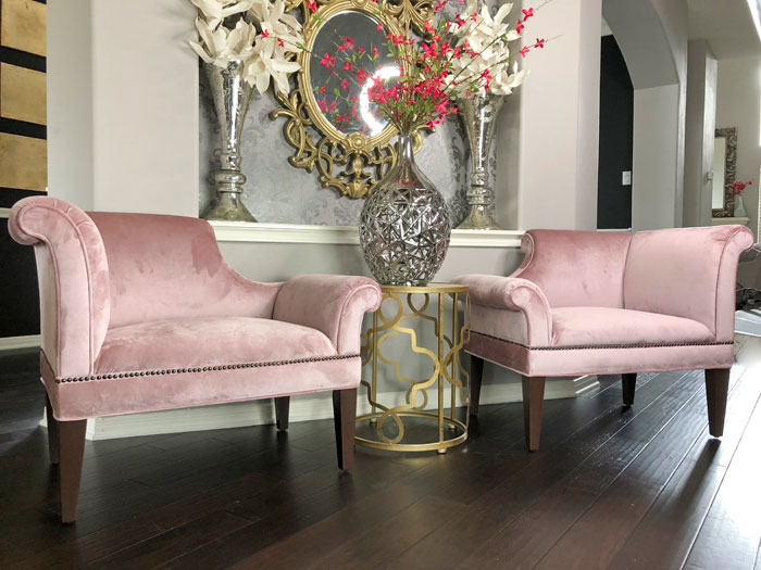 Blush Velvet Armchairs