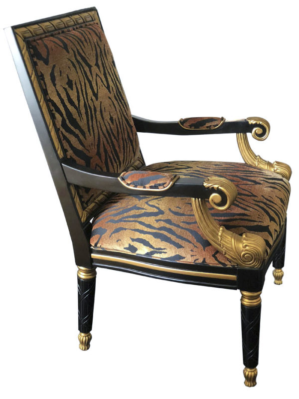 Tiger Printer Empire Style Chair