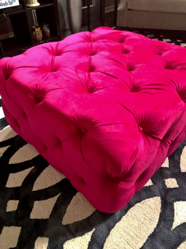 The Upholstered House Ottoman - L Fuchsia