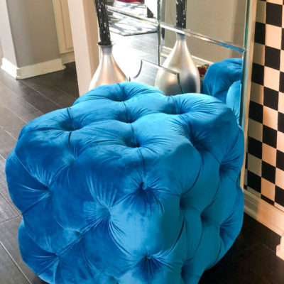 The Upholstered House Ottoman - S Darken Skies