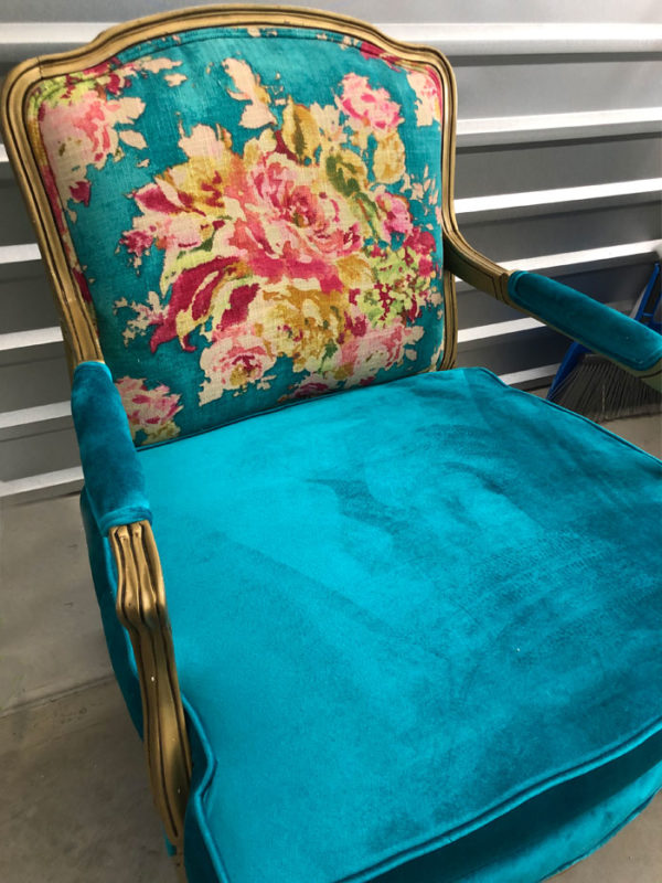 Turquoise Antique French Fauteuil Bergere